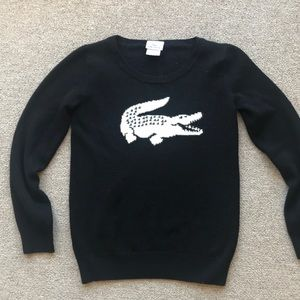 VINTAGE LACOSTE BLACK SWEATER LARGE CROCODILE 40